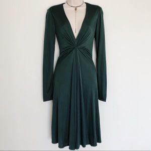 Forest Green Long Sleeve Midi Dress